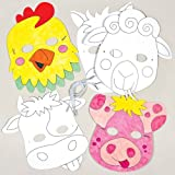 Children can pick their favourite farm animal then have fun colouring it in.;Pre-printed and elasticated card masks - decorate with fibre tip pens (not included) then wear for 'down on the farm' larks!;6 designs - Cow, Horse, Sheep, Dog, Pig & Ch...