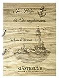 Livingstyle & Wanddesign Rustikales Gästebuch aus Holz zur Hochzeit mit Namen und Datum, Leuchtturm Im Hafen der Ehe (48 Seiten/24 Blatt)