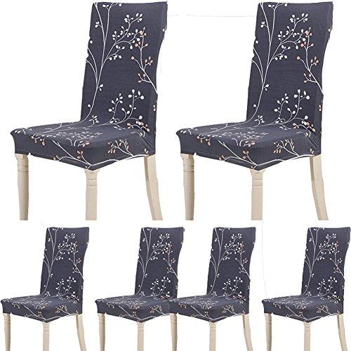 Teerfu, Fodera per sedia, 6 pezzi,protezione elasticizzata rimovibile, in spandex, fodera per sedie ultra aderente, ideale per hotel e cerimonie nuziali, lavabile Color 13