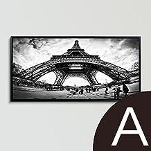 Paintsh moderna en blanco y negro pintura decorativa salón sofá Pintura Mural de fondo Comedor Pintura de cabecera de la fotografía de la Torre Eiffel, 50 * 100, simple marco blanco, Torre Eiffel Panorama, Marco verde + Hand-Mounted