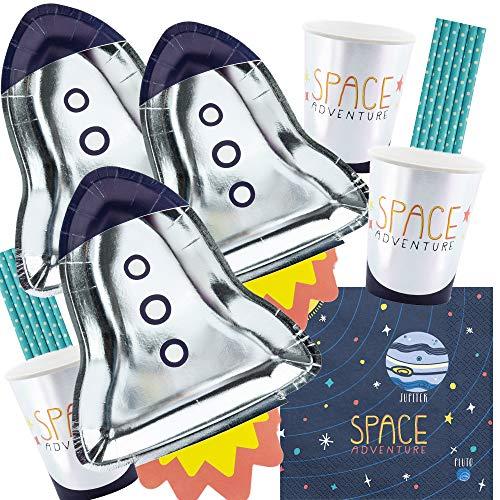 56-teiliges Party-Set Weltraum - Space - Teller Becher Servietten Trinkhalme für 12 Kinder