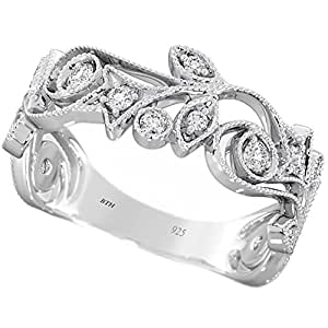 Ladies Ring - 925 Sterling Silver Ladies Luxury Unique Wedding Engagement Band Ring - Size J - Comes with Luxury Gift Box.