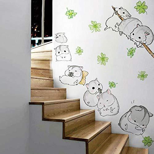 ZGQQQ Beau Petit Hamster Stickers Muraux Mignon De Bande Dessinée Souris Décor Bébé Amour Jouet Cadeaux Maison Enfants Chambre Décoration Bricolage Fourniture