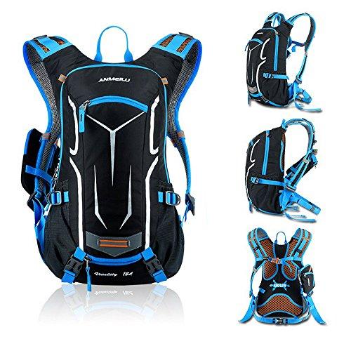 Fahrradrucksack mit Regenschutz Leichter Wasserdicht Rucksack 18l mit Abnehmbare Handytasche für Kurze Wanderstrecken Blau