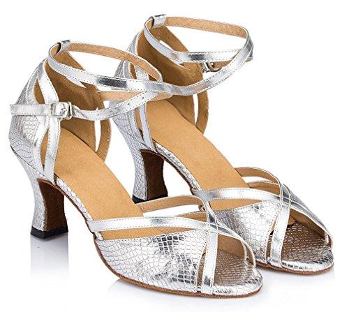 Honeystore Damen's Einfarbig Riemen Satin Tanzschuhe Silber