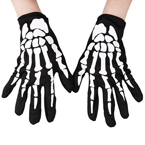 BESTOYARD Guanti Full Finger Skeleton Unisex Guanti Scaldamani Elasticizzati Guanti Racing Full Finger 1 Paio (Nero)