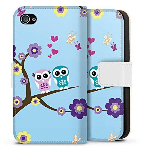 Apple iPhone X Silikon Hülle Case Schutzhülle Eule Blumen Liebe Sideflip Tasche weiß
