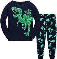 MIXIDON Pigiama Ragazzo Dinosauro Cotone Lungo Pyjama Sets Bambini Invernale Due Pezzi Impostato Pigiama per R