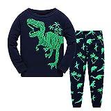 Garsumiss Jungen Schlafanzug Kinder Dinosaurier Pyjamas Sets Kleinkind Pjs Nachtwäsche 2-8 Jahre (122/6 Jahre, Grün/Dinosaurier)