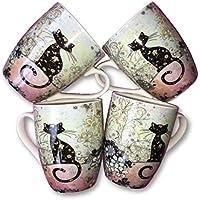 Bug Art Collection – Juego de tazas de gato negro – en caja ...
