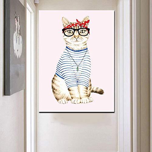 Hd Print Abstrakte Katze Dress Up Mädchen Tier Ölgemälde Auf Leinwand Pop Art Wandbild Für Wohnzimmer Sofa Decor 50Cmx70Cm