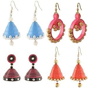Vaneegam- handmade Quilling Paper Earrings Multi design - foure earring set