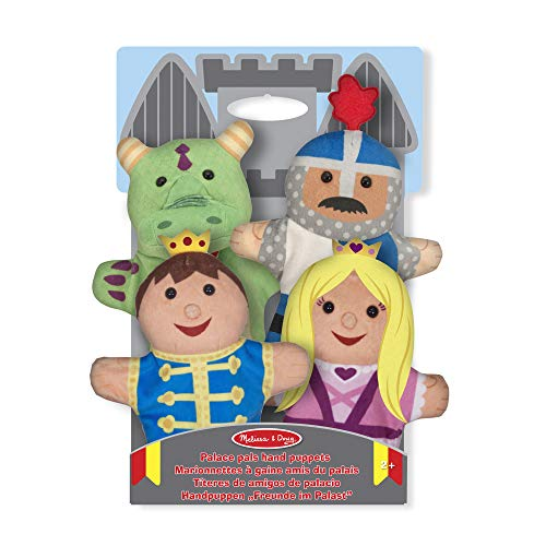 Four soft hand-puppets in a palace theme;Sized to fit adults and children;Soft stuffed-plush heads encourage cuddles;Washable fabric;Great for motor skills, hand-eye coordination, communication skills, self-confidence, and parent-child bonding