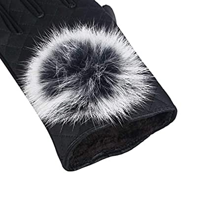 Voberry Women's s Touch Screen Winter Fur Ball Warm Leather Driving Gloves Mitten