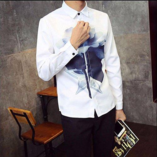 Kaiki Männer Langarm Revers Tops Casual Loose Rose Lotus Deer Printing Shirt Bluse Lotus