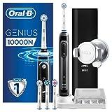 Oral-B Genius 10000N Spazzolino Elettrico Ricaricabile, 4 Testine, Custodia da Viaggio USB, Supporto per Smartphone, 6 Modalità di Spazzolamento tra cui Pro-Clean (Pulizia Profonda), Nero