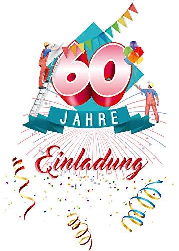 Einladung Karten 60 Geburtstag mit Text auf der Rückseite. 60 Jahre Postkarten 10 Stück im Set zum runden Geburtstag. Ausfüllen, überreichen oder mit der Post verschicken. (60 Geburtstag)