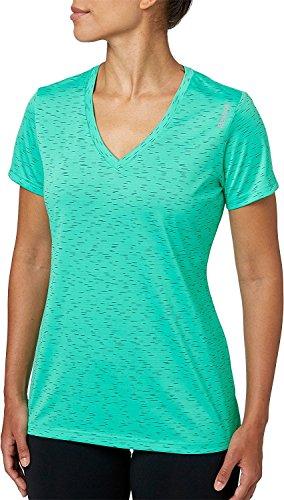 Reebok pour femme Col en V BLIP Melange Performance T-shirt Emerald/Faux Indigo Blip