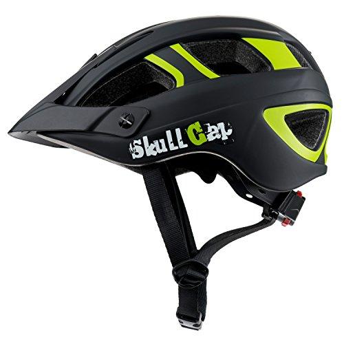 Skullcap Fahrradhelm - MTB Mountainbike Helm Herren - Damen - Schwarz-Neon-Grün matt - Visier-Helmschild, Größe M (55 - 58 cm)
