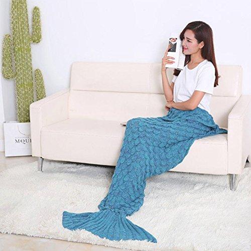 Maike Mall fish-scale Meerjungfrau Schwanz Sofa Klimaanlage, Decke Schmusedecke Erwachsene/Teen Schlaf Tasche Bett - blau