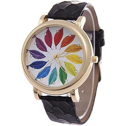Foglio colorato Ladies Casual in pelle cinturino orologio al quarzo