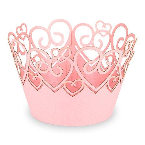"""Elfenstall Cupcake / Muffin Papierförmchen - Zierumrandung - Dekorand """" Herz Liebe Love """" 12 Stück Geburtstage Hochzeiten Kommunion Konfirmation Taufe Ostern Partys oder Feste (rosa pink)"""