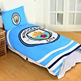 Manchester City FC Official Reversible Pulse Single Duvet Set (Single) (Sky Blue/White)