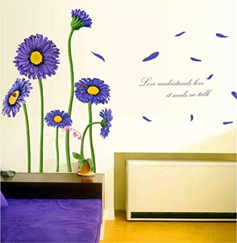 ALLDOLWEGE Moderne lila daisy Sonnenblume DIY TV Hintergrund zurück Wandhalterung Daisy Und Sonnenblume
