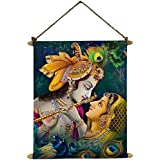 TYYC Diwali Gifts, Spiritual Radha Krishna Idol Wall Paintings, Hangings Canvas Scroll Poster For Home, Pooja, Puja - 10.5x10.5 Inches | Diwali Corporate Gifts For Office, Employees, Clients, Staff
