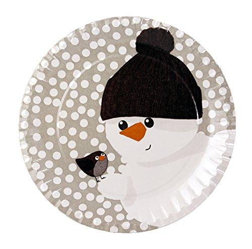 autooptimierer Pappteller I Einwegteller I Papierteller Motiv Schneemann Winter rund Ø 23 cm, ungeteilt, für Weihnachtsfeier I Grillfest I Party I Geburtstag, biologisch abbaubar (Schneemann) (Warmers Partys Food Für)