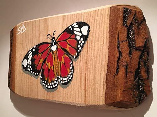 Schmetterling Bild Versteckte Herzen Handmade Spraypainted Malerei auf Holz 28 x 15 cm, ideal Muttertag oder Geburtstagsgeschenk - Geschenk für Hochzeit, romantisches Geschenk