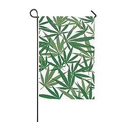 YXUAOQ Dekorative Outdoor Double Sided Marihuana Blätter auf weißen Garten Flagge, Haus Hof Flagge, Garten Hof Dekorationen, saisonale Willkommen Outdoor Flagge 12 X 18 Zoll Frühling Sommer Geschenk