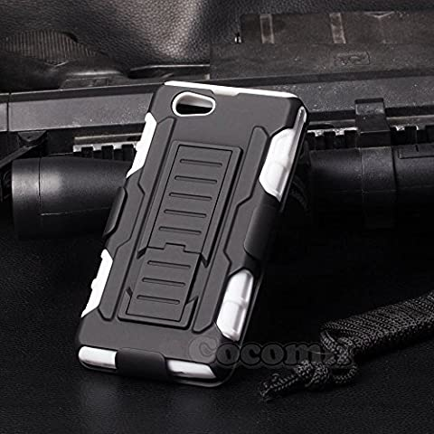Sony Xperia Z1 Compact Coque, Cocomii Robot Armor NEW [Heavy Duty] Premium Belt Clip Holster Kickstand Shockproof Hard Bumper Shell [Military Defender] Full Body Dual Layer Rugged Cover Case Étui Housse D5503 (White)