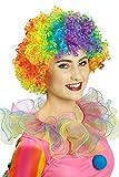 Regenbogen Afro Perücke für Damen - Coole bunte Lockenperücke Frisur Erwachsene Hippie Clown Kostüm