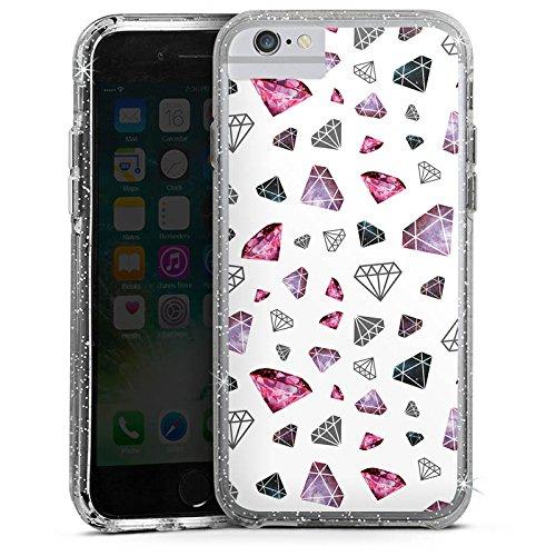 Apple iPhone 7 Bumper Hülle Bumper Case Glitzer Hülle Diamanten Diamonds Juwelen Bumper Case Glitzer silber