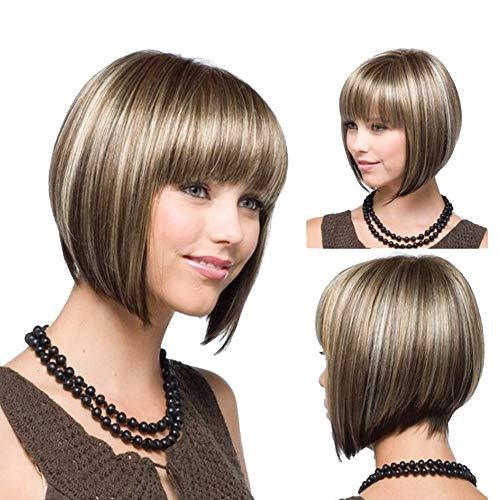 YUI 32cm Mädchen Bob Blonde Haare Perücke Stilvolle Kurze Gerade Ombre Blonde Synthetische Perücken für Frauen Kostüm Party mit Free Perücke Kappe, Gold