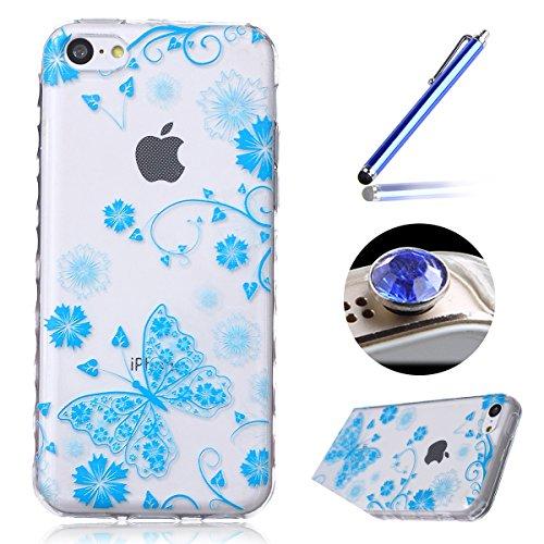 Etsue iPhone 5C Housse,Etui Housse Coque de protection Silicone TPU Gel pour iPhone 5C,silicone coloré imprimé en caoutchouc souple de gel Housse pour iPhone 5C + 1x Bleu style + 1x Bling poussière pl papillon bleu