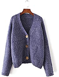 Ladies V cuello Color Cardigan Sweater