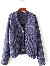 Ladies V cuello Color Cardigan Sweater