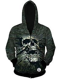Teerfu - Chaqueta con capucha y cremallera para hombre, diseño de calavera ...
