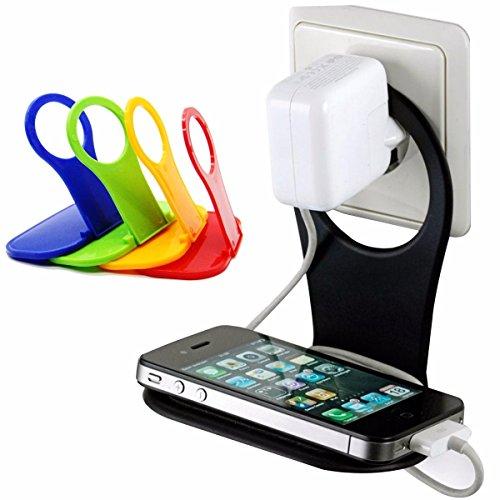Soporte Plegable Cargador Pared Enchufe para Telefono Movil (Amarillo)