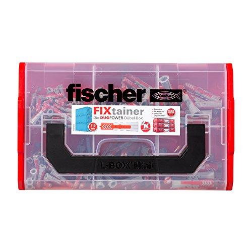 fischer FIXtainer DUOPOWER, Dübelbox mit 210 Dübeln (120 Stk. 6 x 30, 60 Stk. 8 x 40, 30 Stk. 10 x 50), Universaldübel, praktisches Dübelset, Dübelkiste mit Tragegriff & Klicksystem, ohne Schrauben