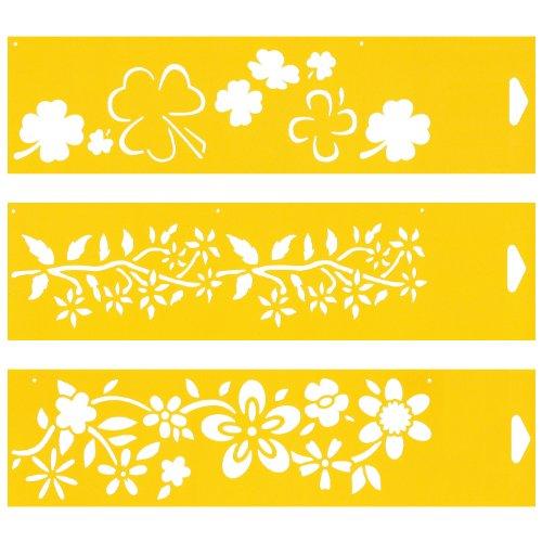 (Satz von 3) 30cm x 8cm Flexibel Kunststoff Universal Schablone - Textil Kuchen Wand Airbrush Möbel Dekor Dekorative Muster Torte Design Technisches Zeichnen Zeichenschablone Wandschablone Kuchenschablone - Blumen Blätter Wilde Jasmine Klee -