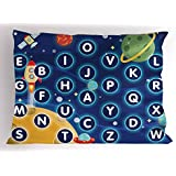 Ambesonne Kid's Activity Pillow Sham, Random Letters of The Alphabet in The Outer Space with Planets and Stars, Decorative Standard Queen Size Printed Pillowcase, 30 X 20 inches, Multicolor
