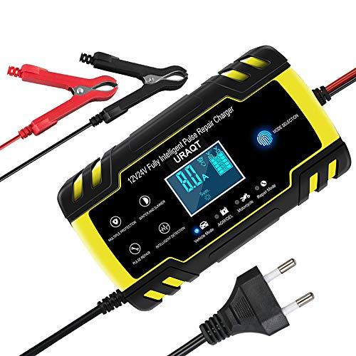 URAQT Auto Batterie Ladegeräte 8A 12V/24V Batterieladegerät Auto Intelligentes Vollautomatisches Ladegerät mit Berühren Schaltfläche, LCD-Bildschirm Batterieladegerät, für Auto und Motorrad