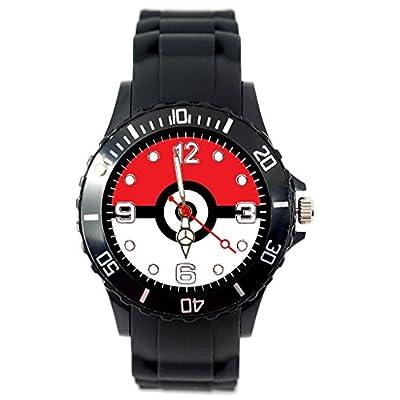 TAPORT Pokemon - Reloj de pulsera, de cuarzo, correa de silicona negra, con pila de recambio y bolsa de regalo de TAPORT®