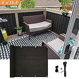 Xatan Protezione per balconi Privacy 3'x16.4 'Copertura per Schermo Nero per balconi con Protezione UV