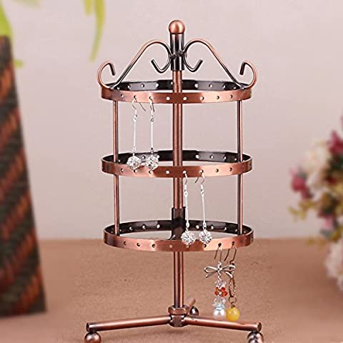 HQdeal Rotating 72 pairs Earring Holder Organiser Stand / Jewellery Stand Display, copper