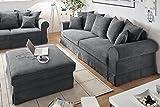 Design Schlafsofa MELBOURNE anthrazit mit Bettkasten Cord Sofa Couch Schlafcouch Schlaffunktion grau