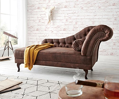 Chaiselongue Patsy Braun 185x75 cm Antik Optik Chesterfield mit Kissen Recamiere
